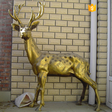Chinese style brass deer statues for zoo decoration