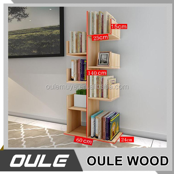 Particle Board Tree-Shape Wooden Carved Book Shelf Bookcase