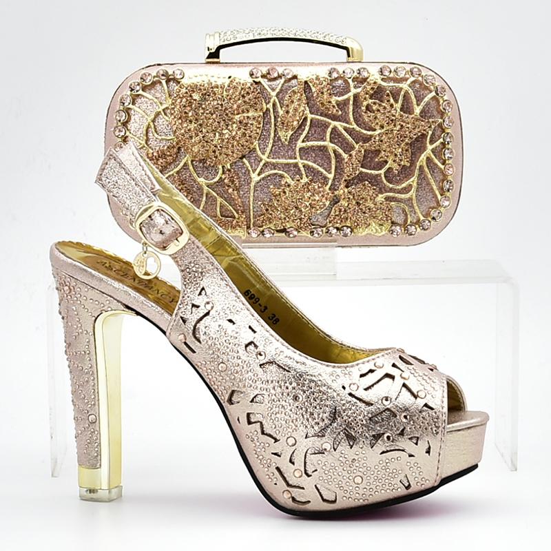 a5140c68c1fd8 Nuevo nigeria fiesta damas italiano zapatos y bolso las mujeres zapatos de  tacón alto zapatos de