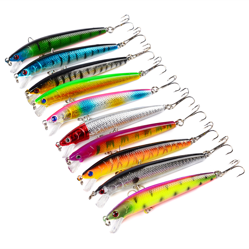 10 colors Stripe pattern 9.5cm 9g Hard Bait Minnow streak <strong>Fishing</strong> lures Bass Fresh water hook diving perch wobbler fish