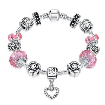 Hermosa DIY Jewelry Design Vintage Murano Glass Pink Beads Bracelet Zircon Heart Charm Bracelets 20cm Party Friendship Gift