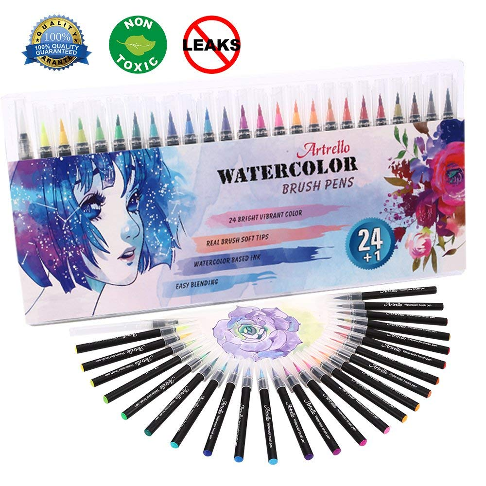 Watercolor Brush Pens Set 24 Premium Colors Watercolor Brush Markers for Painting Calligraphy Artists Real Soft Brush Tips Watercolor Pens for Kids Adults Drawing Sketching 100% Nontoxic