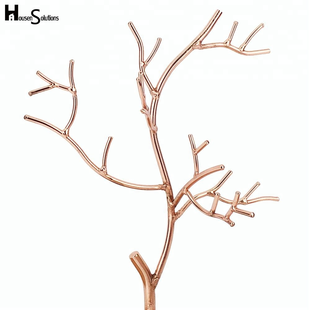 Tree Design Rose Gold Metal Jewelry Display Stand With Bamboo Tray