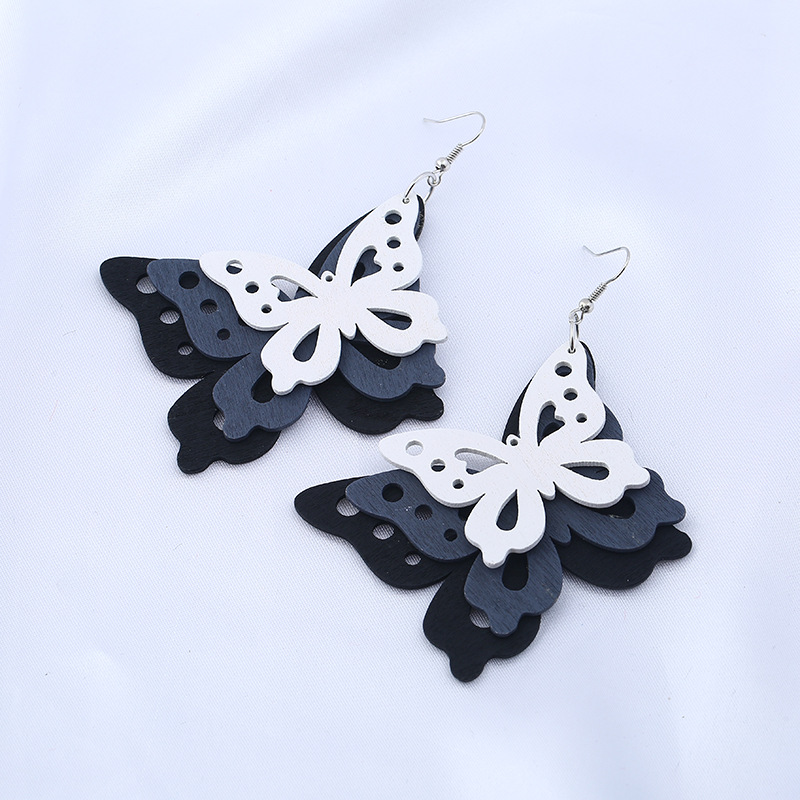 2018 Yiwu dangling <strong>earring</strong> pink big butterfly exaggerated wooden <strong>earrings</strong>