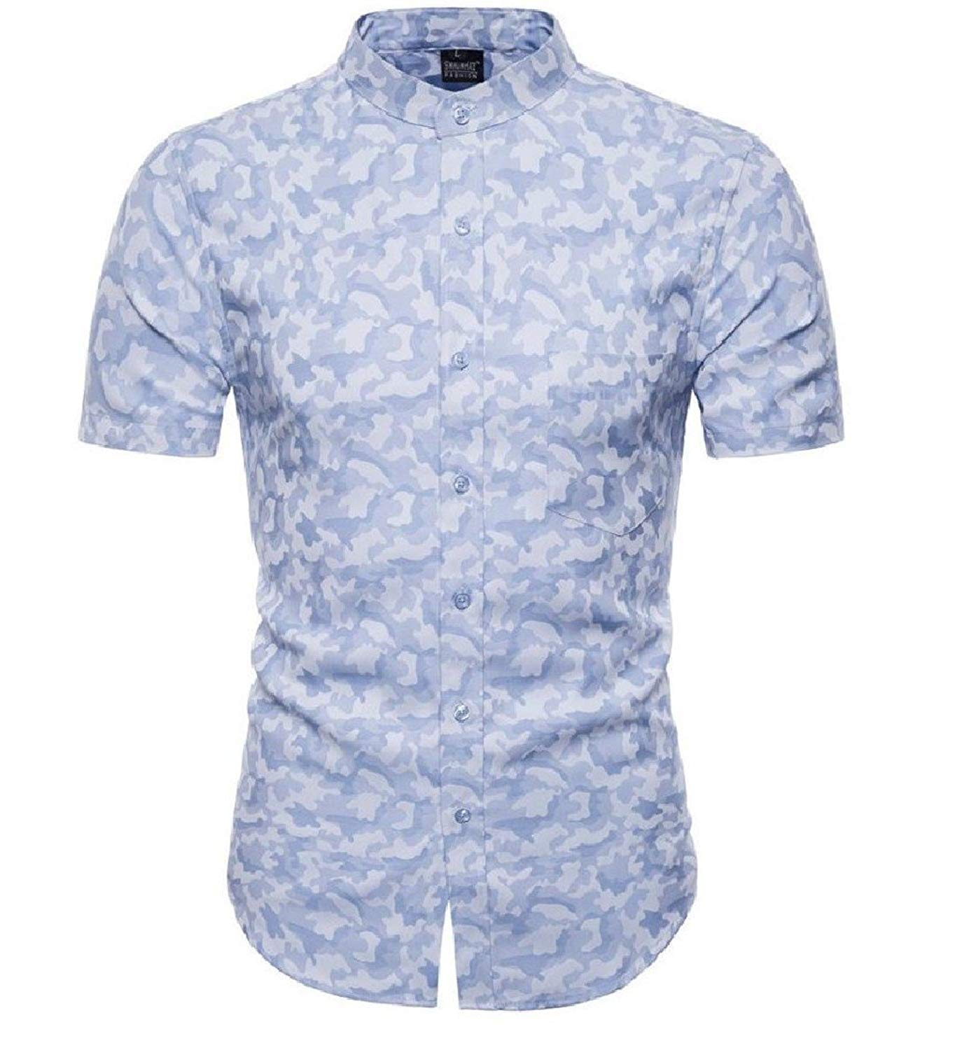 93d51dda0636 Get Quotations · Freely Men s Short Sleeves Camouflage Color Printing  Collared Dress Shirts