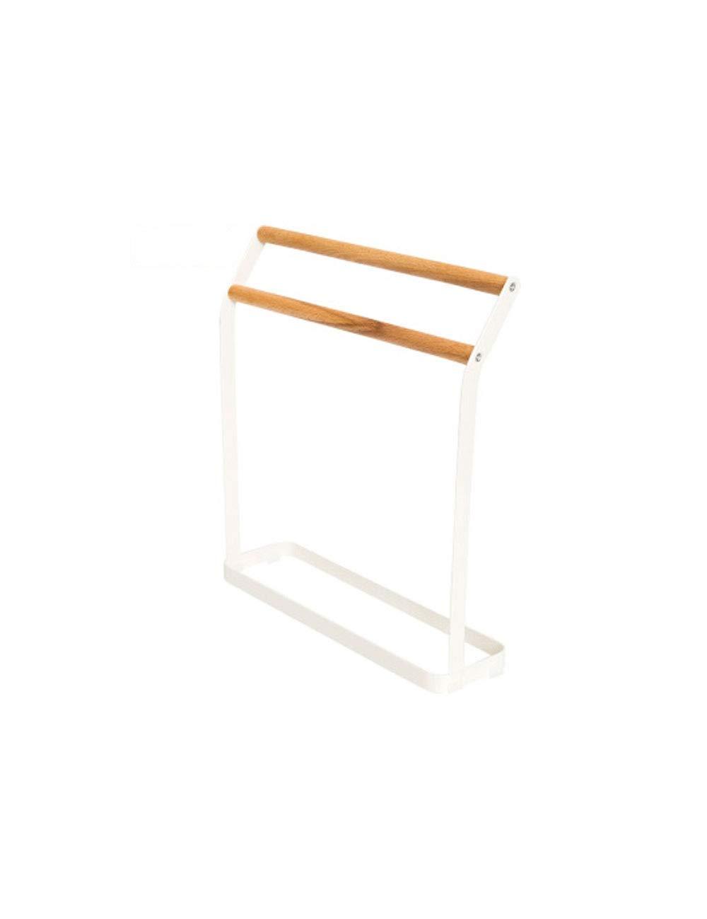 AKMQBZ Free Punching, Bathroom Towel Rack Bathroom Vertical Wrought Iron + Wood Pole, Length 28.5CM Width 8.1CM Height 31.3CM