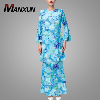 Modern Floral Baju Kurung For Women 2018 Fashion Long Sleeve Elegant Plus Size Muslim Abaya Dress