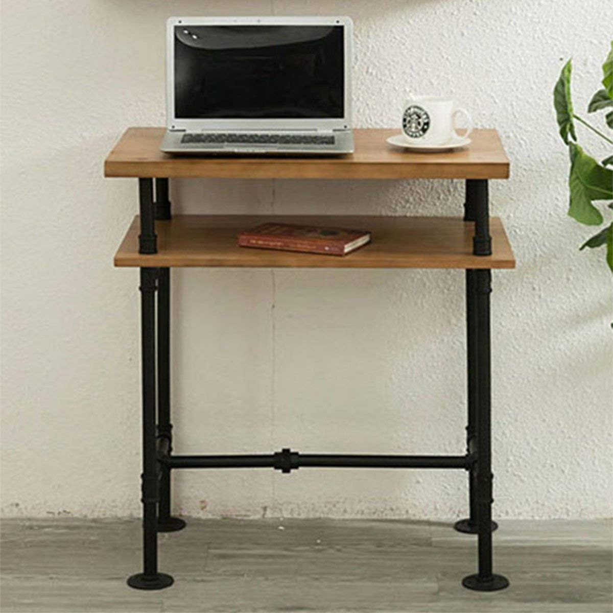 MZGH ISLAND 2 Tier Pipe And Wood Office Desktop Computer Desk ,American Home Single Writing Desk, Multifunctional Desk,Anywhere Console Table, Can Be Assembled or Removable