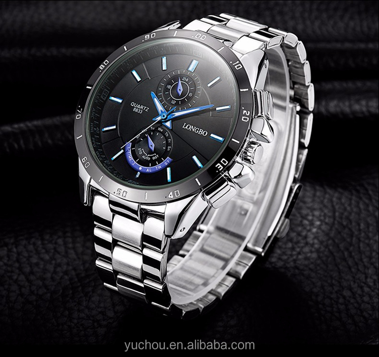 top quality stainless steel mens quartz longbo watch wholesale