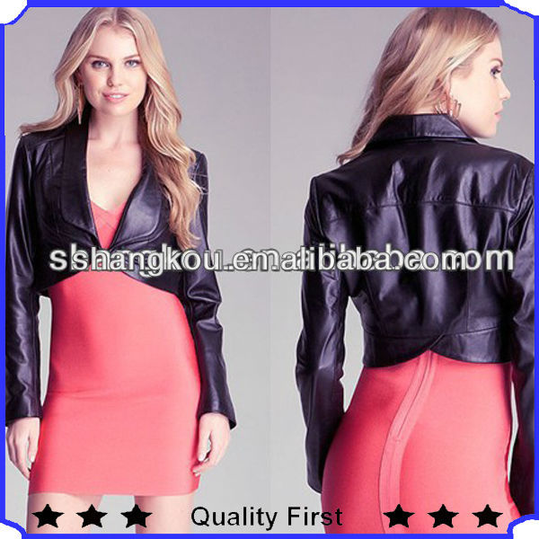 women cropped leather jacket 2014 office uniform designs for women blouses