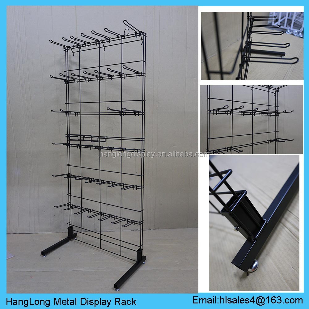 Powder Coated Metal Sachet Display Rack With Hook Floor