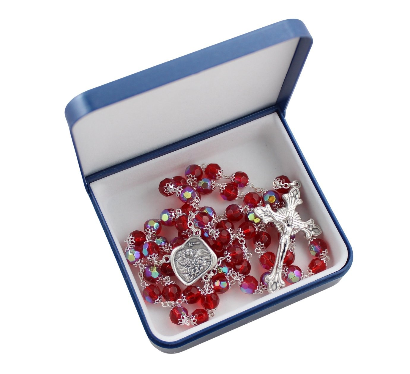 Nativity Holy Family Rosary with 8MM Ruby Red Double Capped Beads and Matching Rosary Box