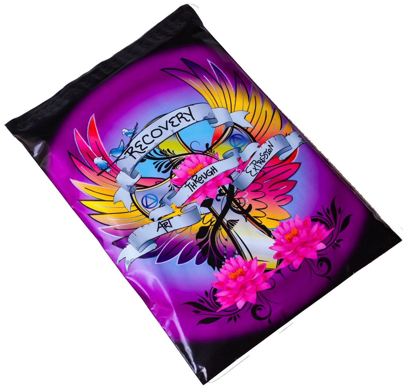 Poly Mailers Tattoo Desigenr Mailers Shipping Envelopes Designer Boutique Packaging Bags in Support of Addiction Recovery Proceeds Donated! Black, Clue, Purple, Pink #SmileMail (6x9)