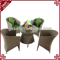 SD cheap rattan hotel bedroom furniture table set