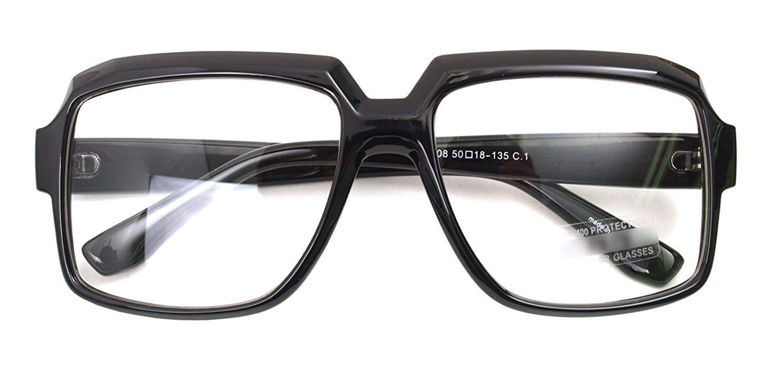 b03c805fe1908 Get Quotations · Oversized Square Thick Horn Rimmed Eyeglasses Vintage  Inspired Geek Clear Lens