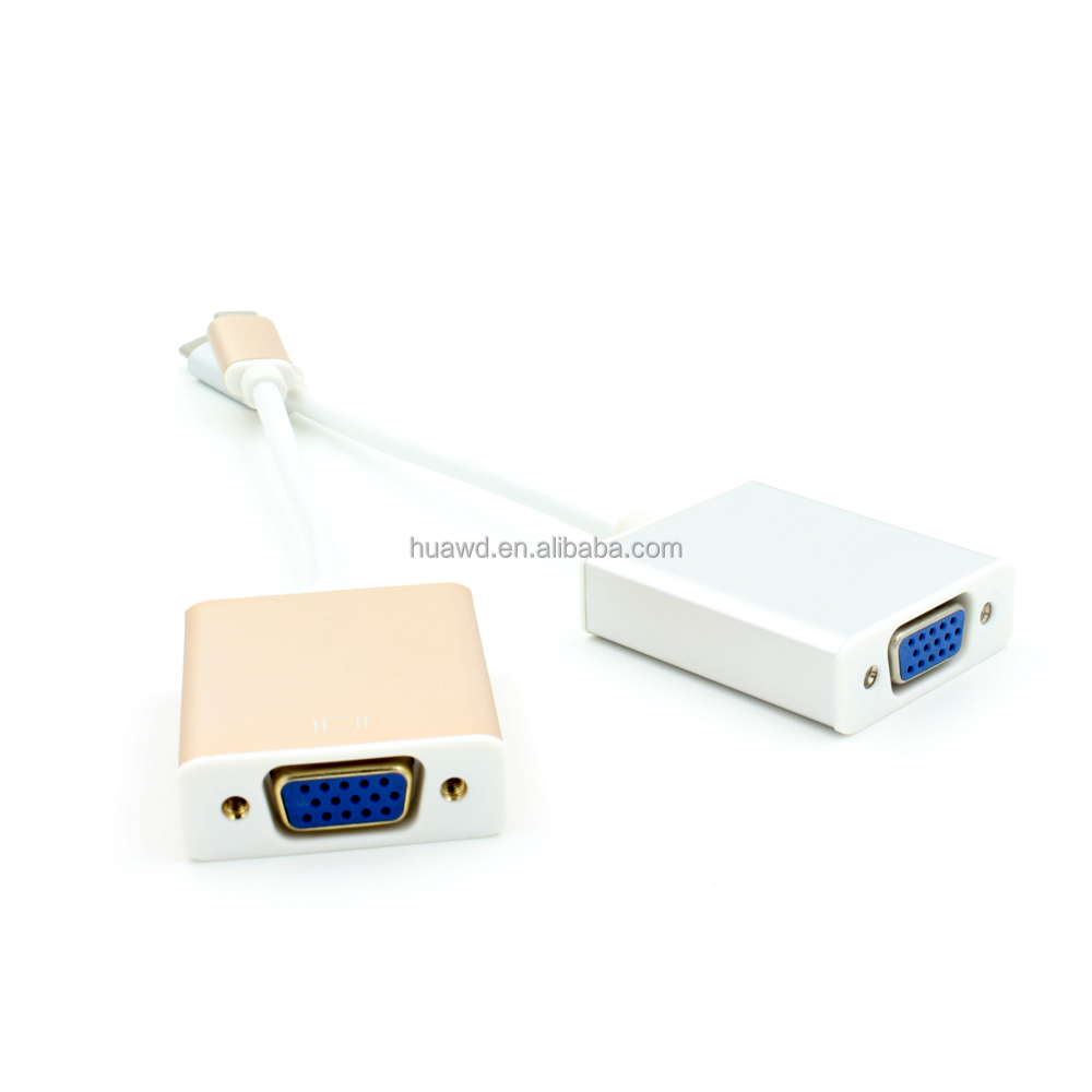 shenzhen factory USB type C to VGA adapter and usb 3.1 type c to vga cable for 1080P HDTV