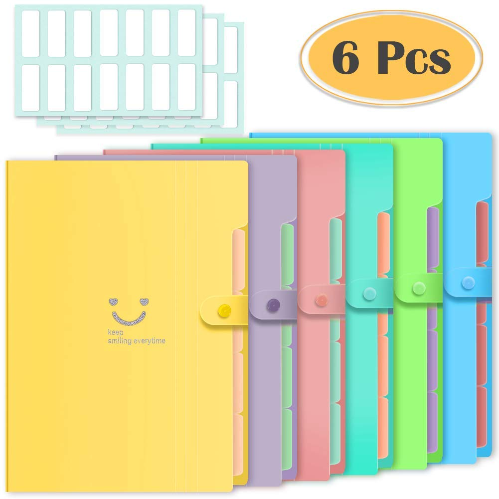 Selizo 6 Pcs Expanding File Folders with 5 Pockets Plastic A4 Letter Size Document Organizer and 168 Pcs File Folder Labels for School and Office