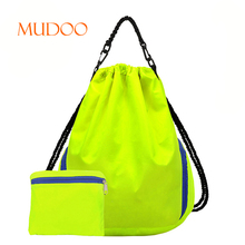GREEN SET 2 FASHION WOMEN MAN SPORTS LARGE FODABLE NYLON DRAWSTRING WATER PROOF BACKPACK