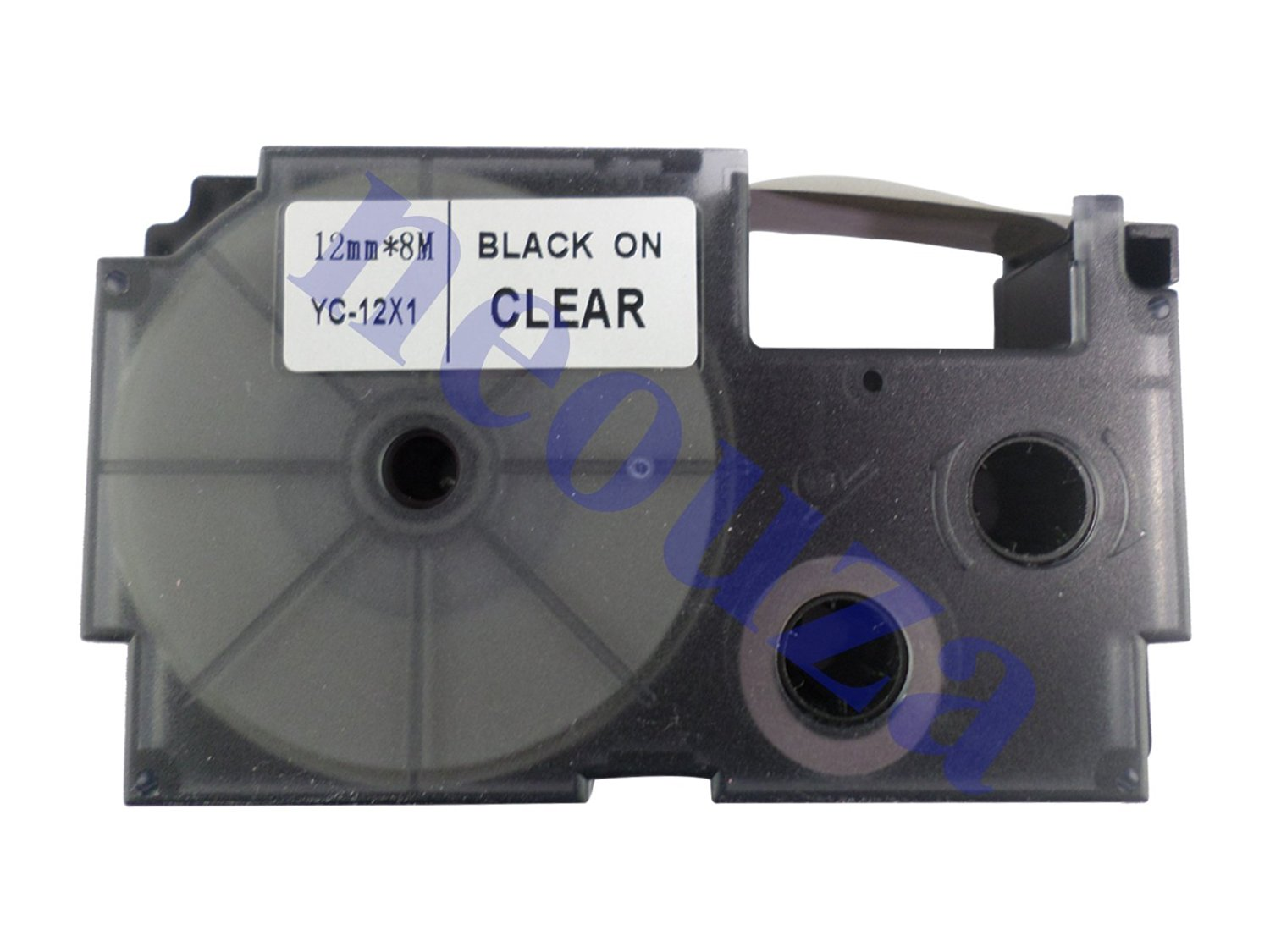 Compatible for Casio EZ-Label Tape 12mm Black on Clear XR-12X1 8m LABEL IT!