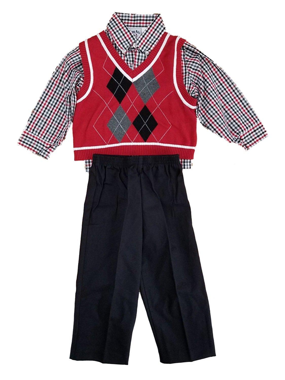 ff22d536c Buy Happy Fella Toddler Boys 3pc Red Argyle Sweater Vest Plaid Shirt ...