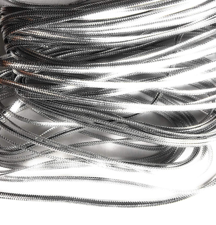 "Silver Metallic Flat Braid Cord 1/8"" Wide-5 Yards"