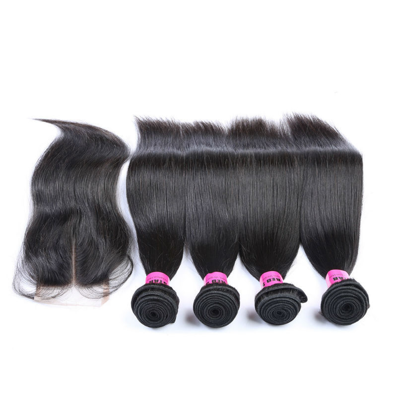 7A Brazilian Straight Virgin Hair 4 Bundles With Lace Closure Human Hair Weave Brazilian Virgin Hair Weft With Closure Bundles