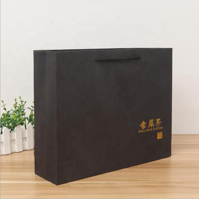 Custom logo black cardboard gold foil wedding paper gift bags and boxes