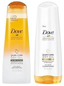 Dove Advanced Hair Series - Pure Care Dry Oil for Dull, Dry Hair - Non-Greasy - Shampoo & Conditioner Set - Net Wt. 12 FL OZ (355 mL) Each - One Set