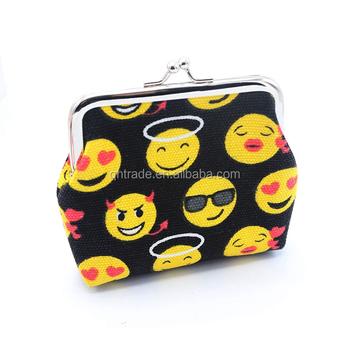 ファッション女性女の子キャンバス小さな財布かわいい絵文字スマイリー絵文字コイン袋