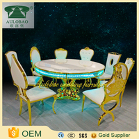 WEDDING event dining latest glass dining table light up dining table