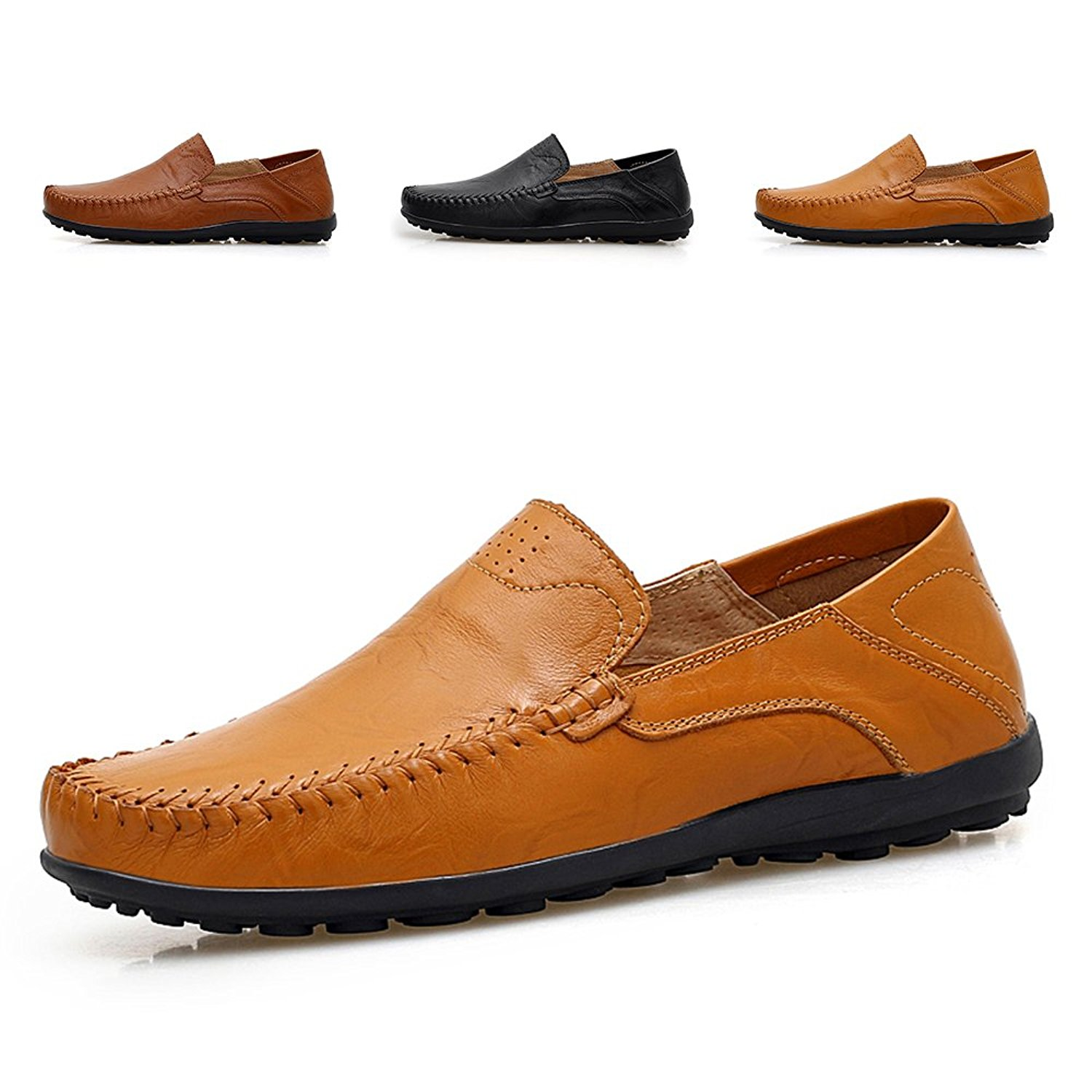 b5cbdbcee0 Get Quotations · ENLEN BANNA Breathable Men s Casual Shoes Leather Loafers  Men Slip-On Summer Boat Shoes Flats Shoes