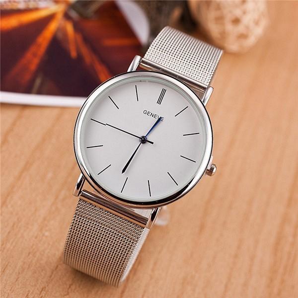 מכירה חמה יוקרה רשת נירוסטה שעון יד חדש אופנה מזדמן שעון אנלוגי קוורץ שעון נשים שעון אופנתי פלדה לצפות