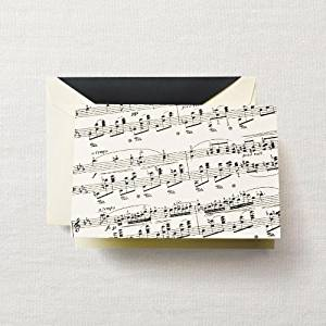 """CRANE & CO. 10 - Sheet Music and Lined Envelopes on Ecruwhite Kid Finish Paper 3 13/16"""" x 5 5/16"""""""