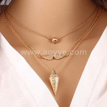 Hot Sale Punk Sederhana Multilayer Jantung <span class=keywords><strong>Kumis</strong></span> Logam Liontin Kalung