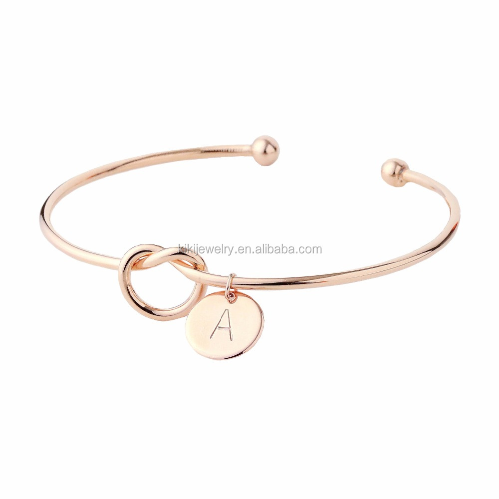 New Models Designs Lucky Initial Charm Gold Bangles