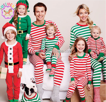 fbe2127047 Sue Lucky hot sale green and red stripes family christmas pajamas wholesale  factory price