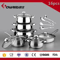 SGS LFGB FDA Cooking Pot And Pan Set, 16Pcs Stainless Steel Cookware Set Non Stick