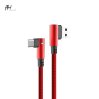Double elbow smart lamp high quality Double Angle Nylon Braid fast charging 90 degree elbow usb cable micro usbTYPE C