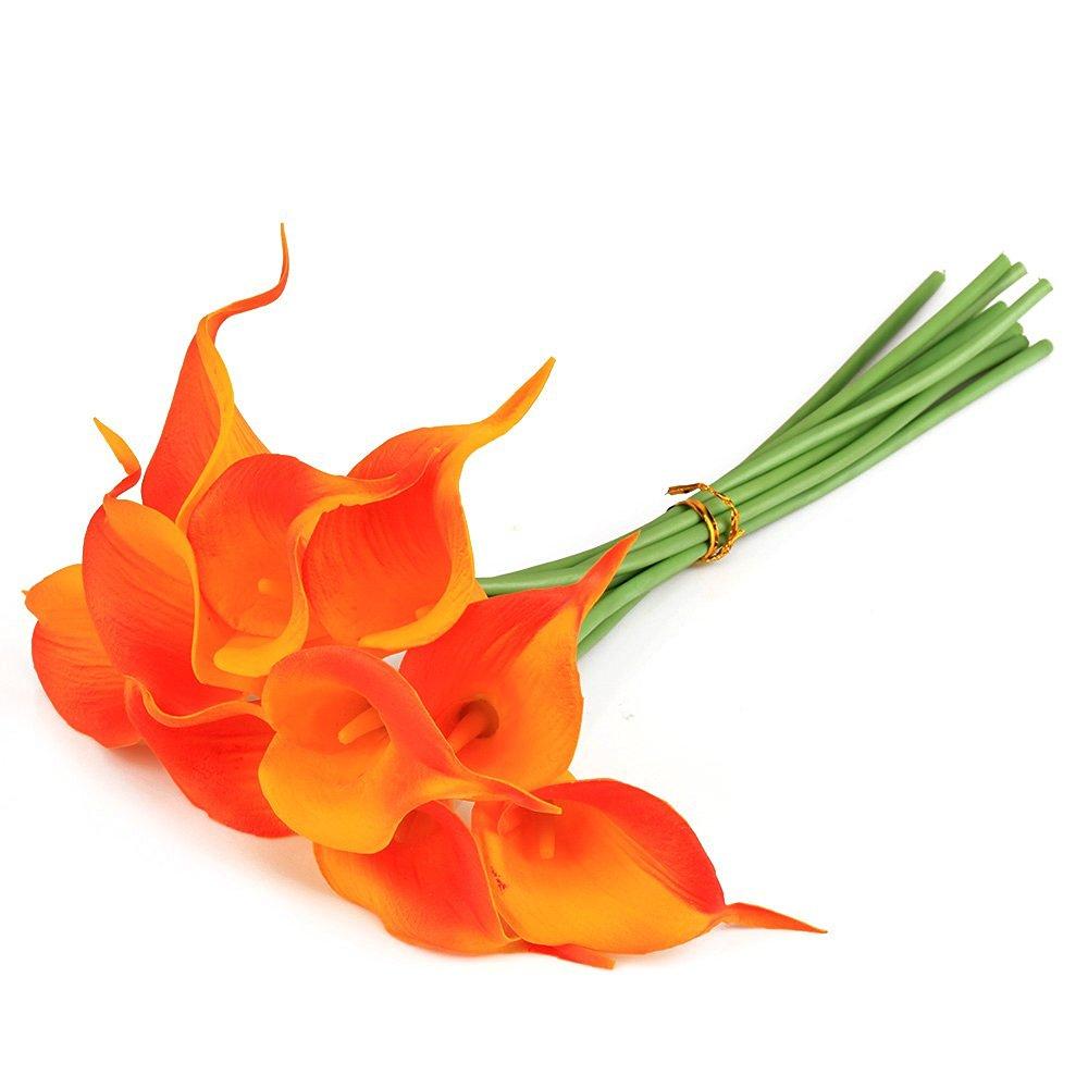 Buy pu material mini calla lily artificial flowers bundle of 10pcs pu material mini calla lily artificial flowers bundle of 10pcs wedding supplies orange izmirmasajfo
