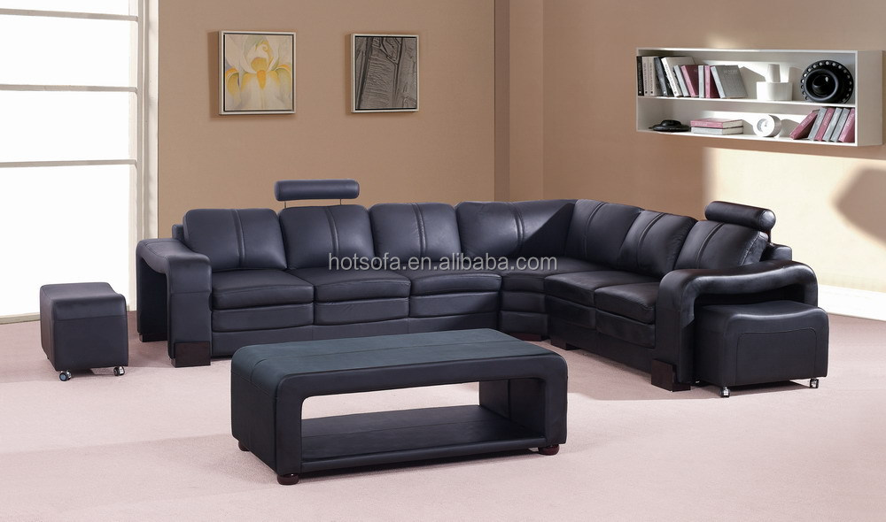 T629 Large Leather Sectional Sofa U Shape Sectional Sofa Round Sectional  Couch