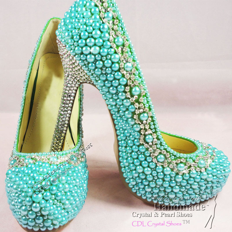 Ladies High Heel Handmade Fashion Teal Blue Wedding Shoes