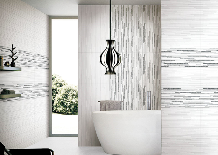 Bianco alla moda 3d effetto superficie irregolare bagno piastrelle