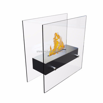Indoor Portable Tea Table Glass Bioethanol Fireplace