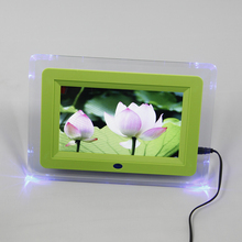 7 Inch TFT Display Digital Photo Frame Alarm clock Built in Speaker Transparent Protective Panel Lights rotate 360 Exquisite