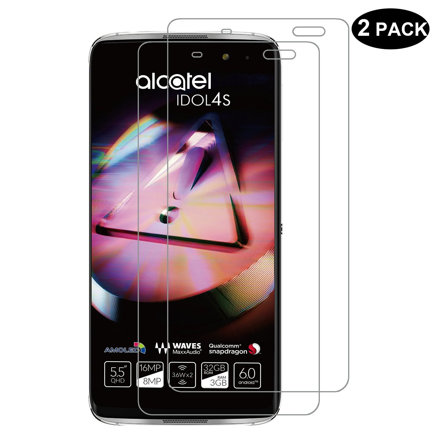 ALCATEL IDOL 4S 6070K [Tempered Glass] Screen Protector - RBEIK [2 Pack] Premium Tempered Glass Screen Protector for ALCATEL IDOL 4S 6070K with 9H Hardness Anti-Scratch Feature