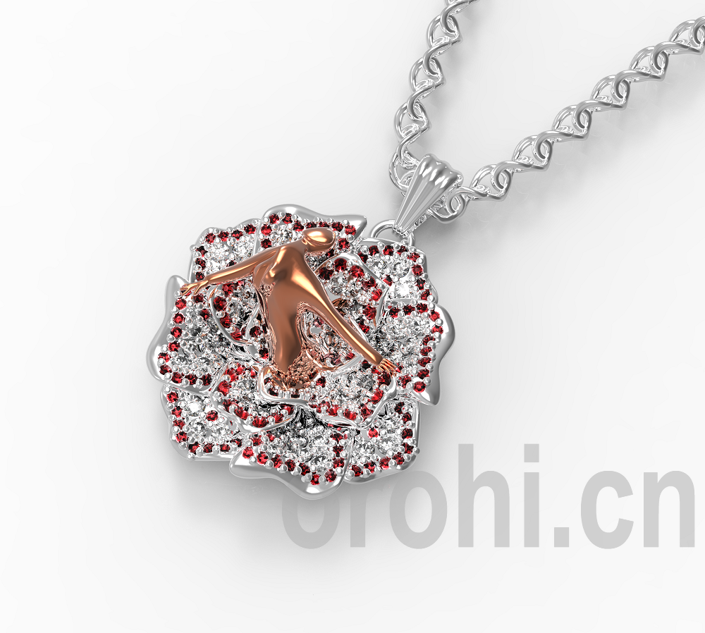 18k rose gold diamond pendant for best friend beautiful rose shape design with colorful diamond pendants DD0012