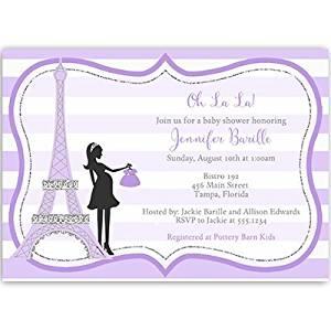 French Baby Shower Invitations, Baby Girl, Purple, Stripes, Eiffel Tower, France, Merci, 10 Printed Invites with White Envelopes, Oh La La, Custom,