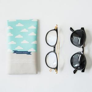 Printed logo soft leather sunglasses pouch with spring
