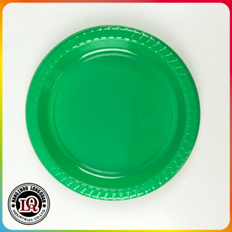 Unbreakable round plastic colorful printed plate for dinner