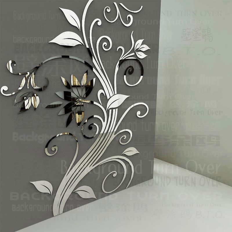 New arrival DIY spring nature single elegant flower wall stickers for home corner decoration decorative art poster XTP-219